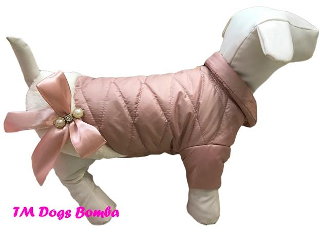 Куртка бантик с мехом пудра для собак DogsBomba