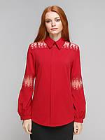 Блузка с кружевными вставками и рукавом на манжете