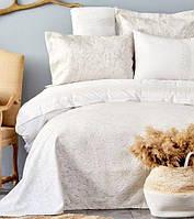 Karaca Home Carolina bej 2019-2 евро комплект постельного белья с  покрывалом, фото 1