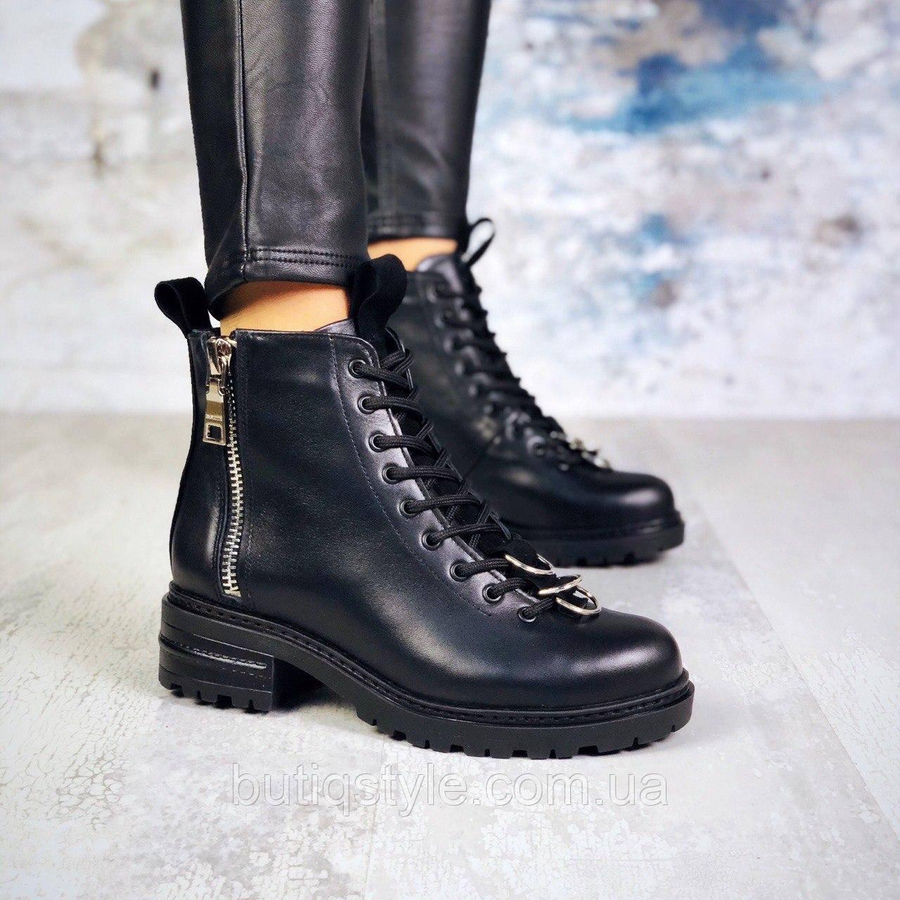 39 размер Женские черные ботинки на шнуровке натуральная кожа Деми