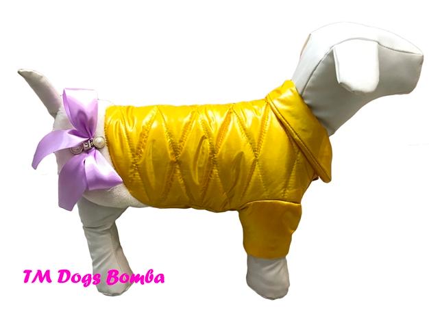 Куртка бантик с мехом желтая для собак DogsBomba
