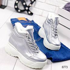 Ботинки женские зимние, серебристого цвета из эко кожи 8773. Черевики жіночі. Ботинки зима, фото 3