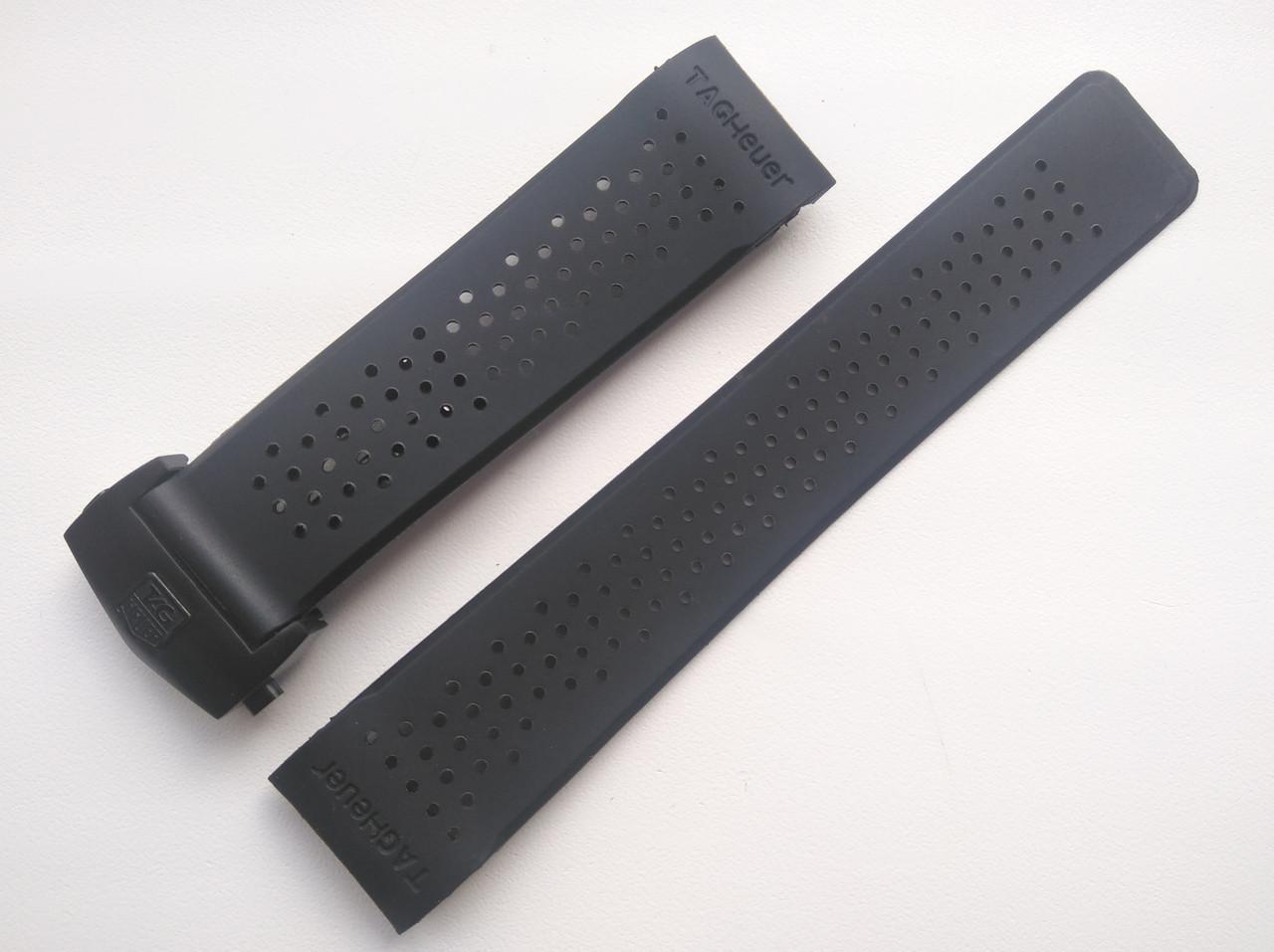 Каучуковый ремешок для часов, заокругленное окончание. TAG Heuer. Черная застежка. 22 мм