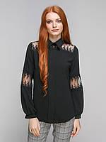 Блузка с отложным воротником и кружевными вставками