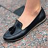Женские туфли кожаные черные  ( код 8822 )