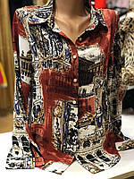 Женская  шелковая блузка с рисунком