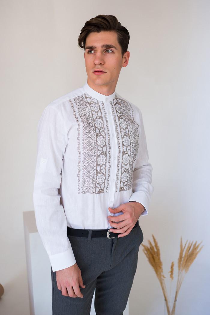 Чоловіча біла вишиванка льняна