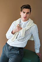 Чоловіча біла вишиванка льняна, фото 2