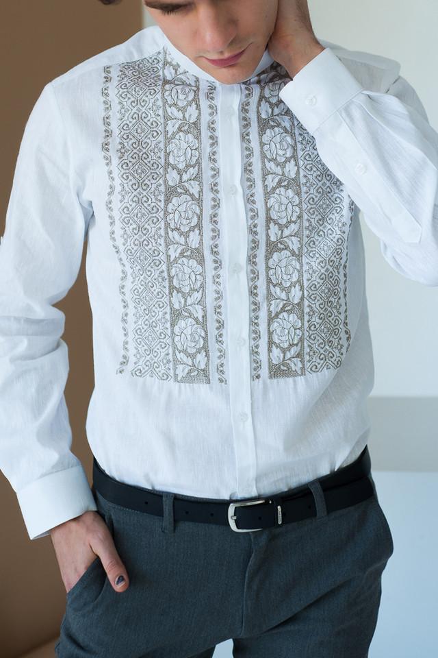 Мужская белая вышиванка льнаная