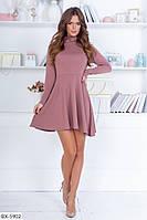 Трикотажное расклешенное платье со складками на юбке арт 107