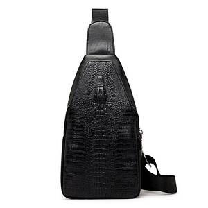 Мужская сумка - кобура через плечо Alligator   Черная