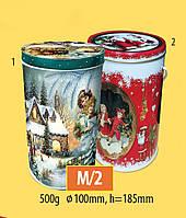 Новогодняя коробка с крышкой из жести 18,5х10 см, Ретро, Новогодняя упаковка, Днепр