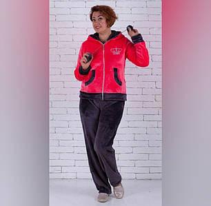 Махровая женская теплая пушистая пижама с капюшоном