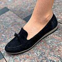 Женские туфли мокасины замшевые черные ( код 8823) - жіночі туфлі мокасини замшеві чорні