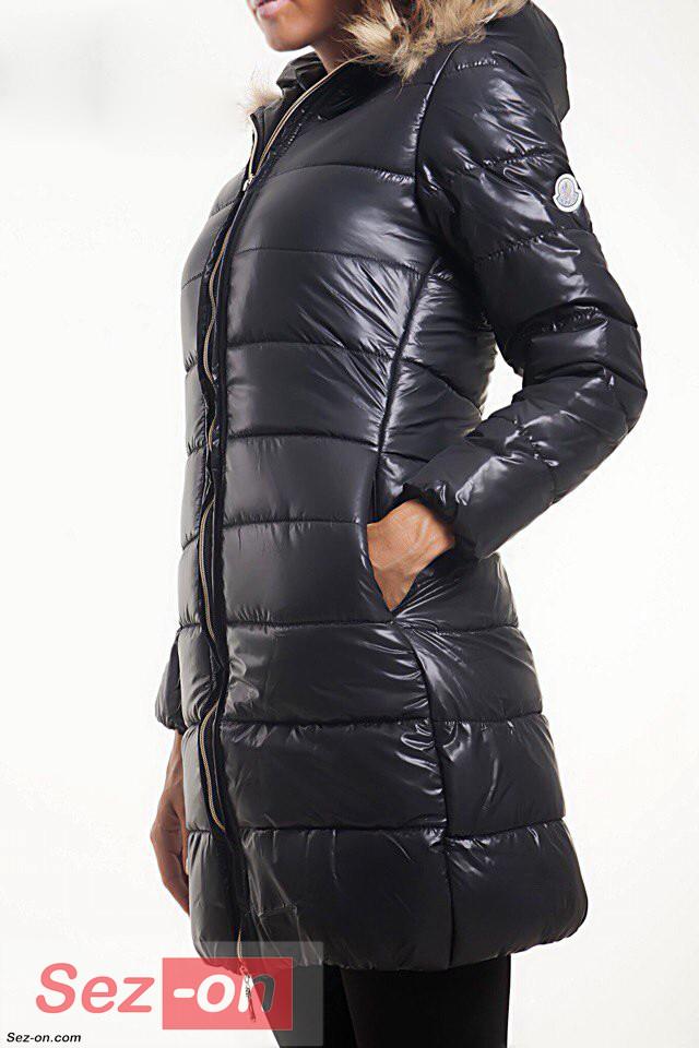 Куртка жіноча зимова Moncler на синтепоні ― Чорний