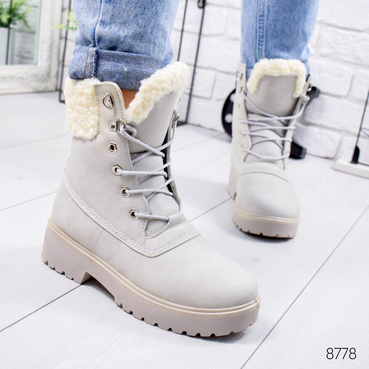 Ботинки женские зимние, серого цвета из эко нубука 8778. Черевики жіночі. Ботинки зима