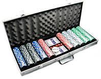 Набор для игры в покер в алюминиевом кейсе (500 фишек, две колоды карт) с номиналом