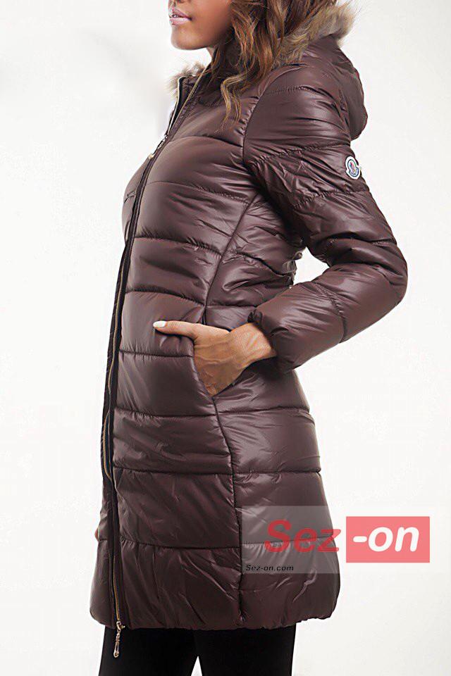 Куртка жіноча зимова Moncler на синтепоні ― Коричневий