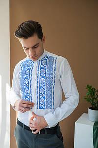 Мужская белая льнаная вышиванка