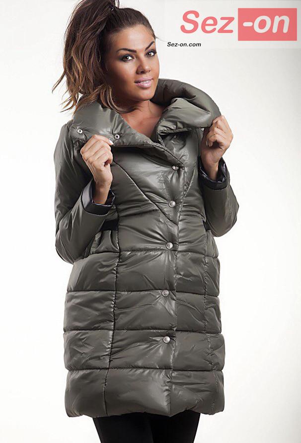 Куртка жіноча на синтепоні з вставками екошкіра ― Темно-оливковий