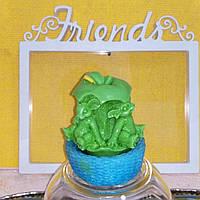 200 г. Мыло зеленого цвета мышки в яблоке в корзинке. Ручная работа. Подарите детям радость
