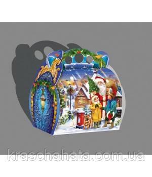 Новогодняя коробка, Сундучок Дед мороз, 1000 гр, Картонная упаковка для конфет
