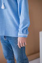 Чоловіча джинсова вишиванка Орнамент Зірка, фото 2