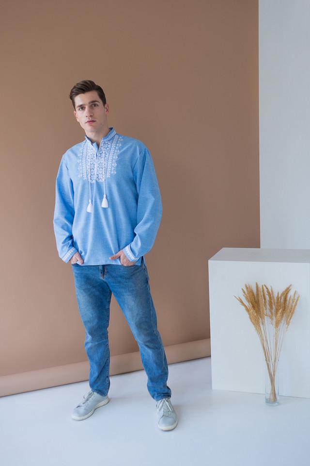 Мужская джинсовая вышиванка Орнамент Звезда