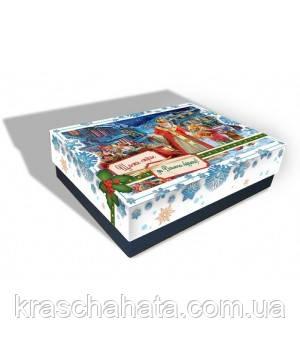 Новогодняя коробка с крышкой, Санта, 1000 гр, Картонная упаковка для конфет и подарков