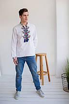 Чоловіча біла вишиванка на домотканному полотні Доля, фото 2