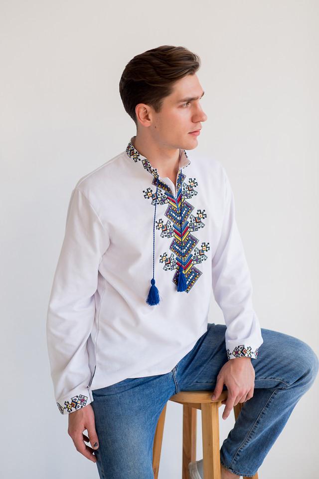 Мужская белая вышиванка на домотканом полотне Судьба