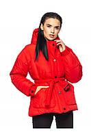 ✔️ Зимняя объемная куртка парка с поясом 42-48 размера красная, фото 1