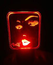 3d-светильник Красота Beauty, 3д-ночник, несколько подсветок (на батарейке)