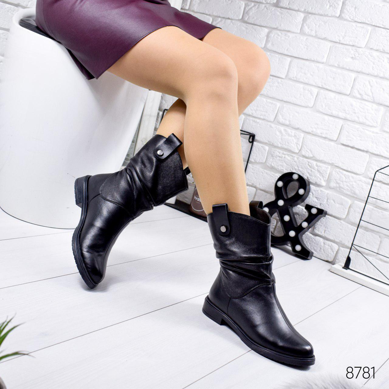Ботинки женские зимние, черного цвета из натуральной кожи 8781. Черевики жіночі. Ботинки зима