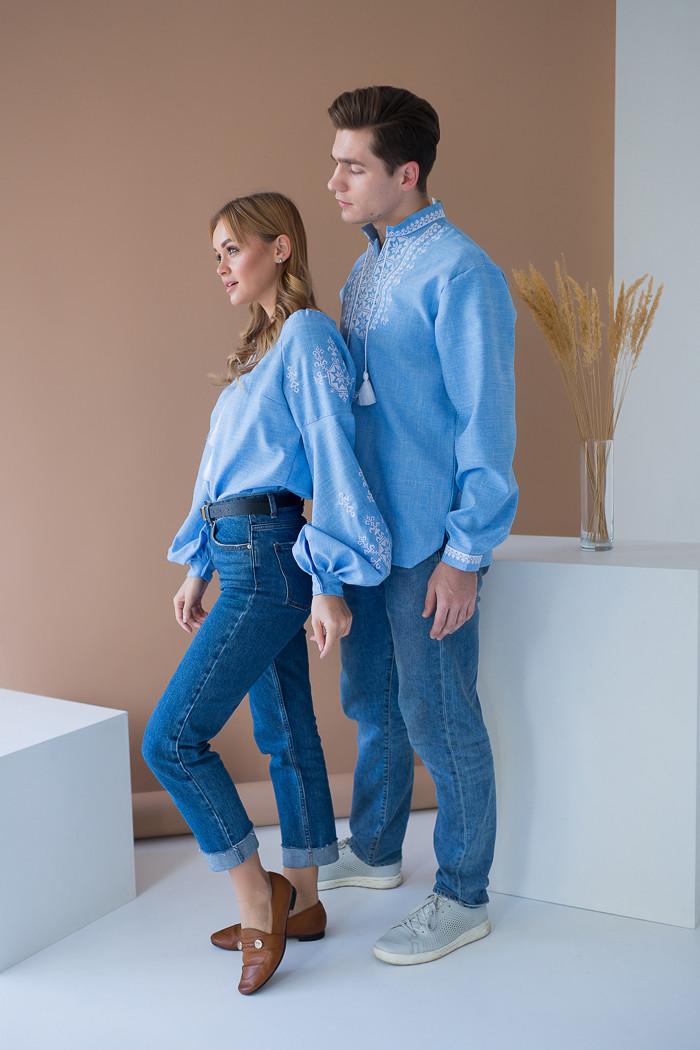 Парні вишиванки для чоловіка та жінки Зірка біла