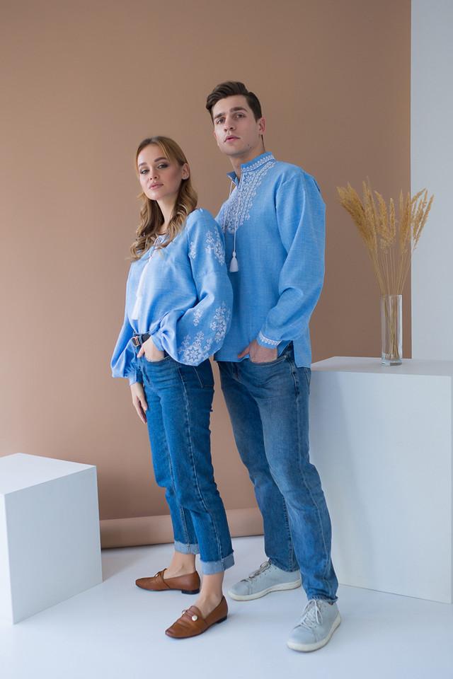 Парные вышиванки для мужчины и женщины Звезда белая