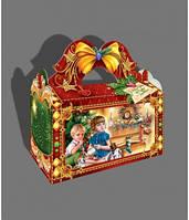 Саквояж новогодний с бантом, 1 кг, Картонная коробка для конфет, 22х11х20 см, фото 1