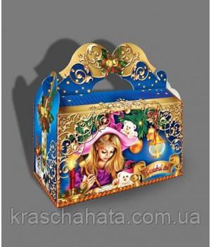 Саквояж новогодний с бантом, 1 кг, Картонная коробка для конфет, 22х11х20 см