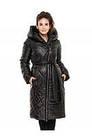 ✔️ Зимнее пальто пуховик молодежное с поясом 44-54 размера черное