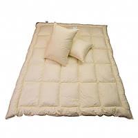Двуспальное пуховое одеяло и две пуховые подушки (комплект)