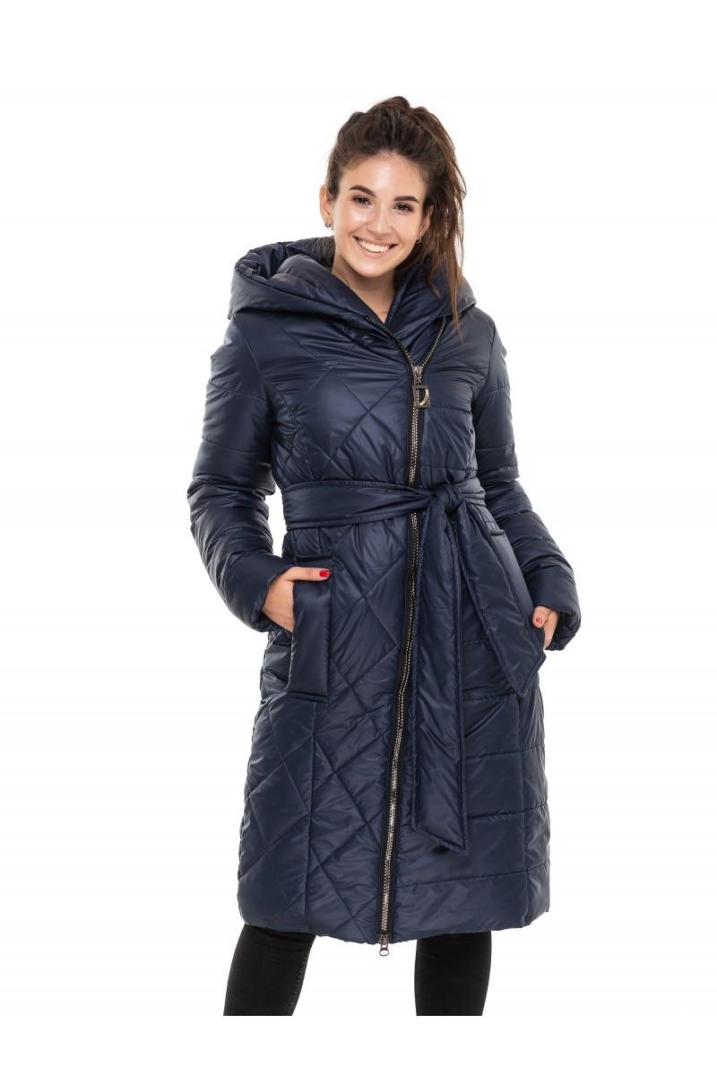 ✔️ Зимнее пальто пуховик молодежное с поясом 44-54 размера синее, фото 1