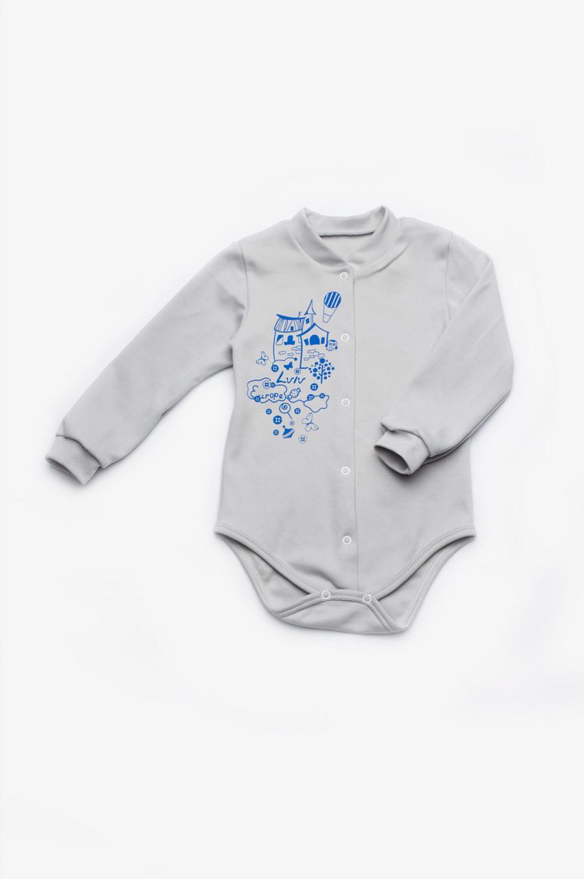 Боди детское для новорожденного с длинным рукавом интерлок унисекс