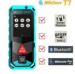 Лазерный дальномер рулетка Mileseey T7 40 м Bluetooth Сенсорный цветной экран
