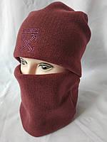 Женская шапка и бафф бордо
