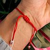 Браслет Звезда Давида на красной нитке с серебром, фото 4