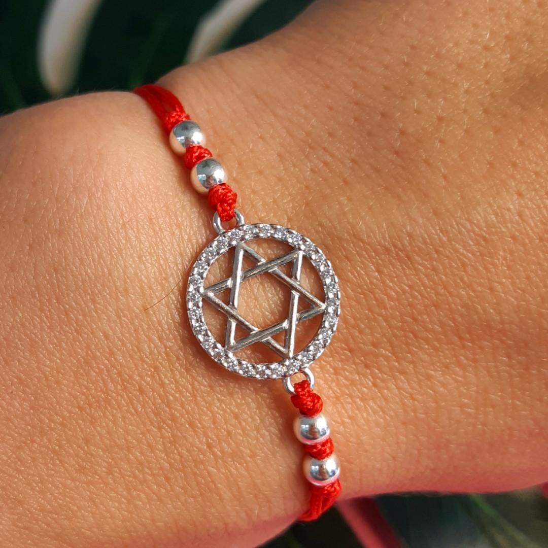 Браслет Звезда Давида на красной нитке с серебром