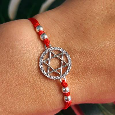 Браслет Зірка Давида на червоній нитці з сріблом