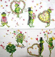 Декупажная салфетка Влюблённые лягушки 2320