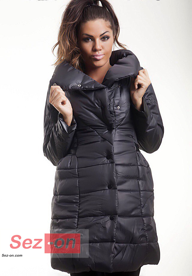 Куртка жіноча на синтепоні з вставками екошкіра ― Чорний