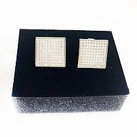 Серьги из серебра Beauty Bar с камнями Swarovski  квадратной формы белые